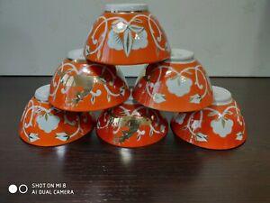 1970 Vinage USSR Tea Set of 6 tea cups bowls Gold Deer and Cotton pattern 10 cm