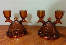 Pair of Vintage Amber Glass Double Candlestick Holders Diamond Cut Pattern