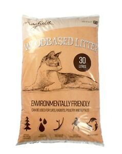 Mayfield Premium Woodbased Cat Litter 30ltr Lightweight Natural Compressed