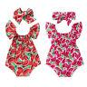 US Cute Newborn Baby Girl Clothes Watermelon Romper Jumpsuit 2PCS Outfit Sunsuit