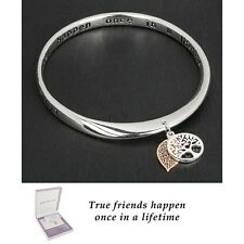 GIFT BOXED Equilibrium Silver Plated Bangle Friends Tree of Life Quote Bracelet