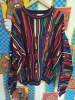 COOGI Sweater Style Vtg 90s XXL Multi Color Retro Hip Hop Rap Biggie Pullover