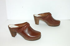 MAGUBA swedish clogs brown leather braid + wooden high heel Stockholm 37 US 6.5