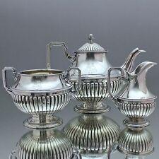 Lemoine, Paris: Teeservice aus Silber, Teekern Teekanne, Wappen Adel, Queen Anne