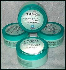4 LOREAL EXTRAORDINARY CLAY HAIR MASK Pre-Shampoo Treatment Oily Roots 5.1 oz ea