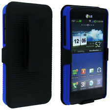 Blue Back with Black Case Holster Combo for LG Thrill 4G P925 / Optimus 3D P920
