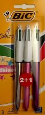 BIC 4 Multi Colour Shine Ball Point Pen Purple Silver Pink Barrel 3 Pack Gift
