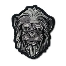 Embroidered Party Animal Greyscale Monkey Sew or Iron on Patch Biker Patch