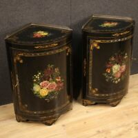 Pair of corner cupboard cabinet furniture lacquered painted wood antique style