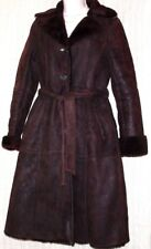 DD.MORRIS Paris Brown Shearling Fur Women Trench Belted Coat Size:S