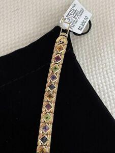 14K Solid Gold Gemstone Bracelet, New W/Tags