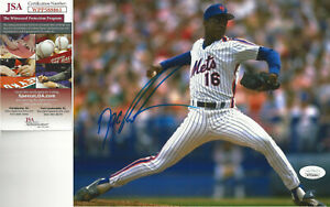 New York  Mets ACE Doc Gooden autographed 8x10 great stride photo JSA Certified*