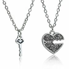 "1 Set Couples Necklace "" Only The Key Holder Can Unlock My Heart "" Broken Heart"