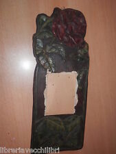 Antico supporto per calendario da parete in legno intagliato ROSA fiore vecchio