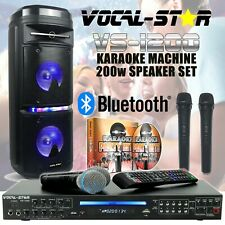 Vocal-Star VS-1200 CDG Bluetooth Karaoke Machine & 200w Speaker 4 Mics 150 Songs
