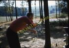 Man Opening Beer Can Americana Car Woods 1950s 35mm Slide Red Border Kodachrome