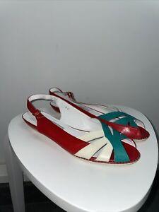 Vintage Bally Slingback Peep Toe Sandals Italian Leather Flats Size 9