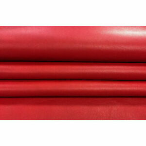Candy Red Leather Fabric, Real Lambskin Hide, Catchy Leather, RIBBON RED 317 ,1.