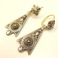 Vintage antique filigree gold and silver earrings