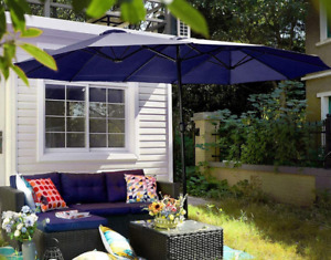 Outdoor Umbrella 13 Ft. X 6.5Ft  Double-Sided, Large Patio Umbrella with Crank