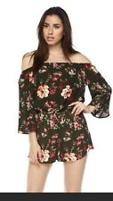 Ambiance Apparel Women's Size Large Floral Off The Shoulder Romper, New