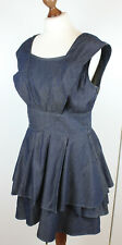 WAREHOUSE Chambray Dark Denim Layered Asymmetric Petal Dress UK 14