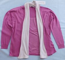 Ladies pink 2-in-1 cardigan striped mock top Emreco UK womens size 12 BNWT New