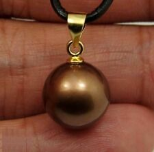 HOT Huge AAA 16mm Chocolate South Sea Shell Pearl Pendant 14k Gold