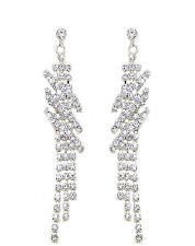 Bridal Diamante Shiny Long Drop Dangle Earrings Jewellery for Weddings E570