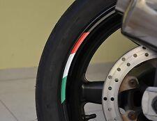 "4x Rims Wheels ITALY Vinyl Sticker Stripes Flag Motorcycle Rim For 17"" Wheel"