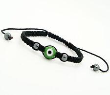 Evil Eye GOOD LUCK Bracelet Glass Green Adjustable sizeNylon Cord