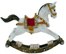 ROCKING HORSE ~ ENAMEL & JEWELED TRINKET BOX #3747