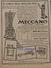 PUBLICITE 1915 MECCANO JEU CONSTRUCTION TOUR MACHINE A COUDRE CHASSIS FRENCH AD