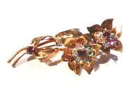 Bijou alliage doré broche fleur cristaux cristal aurore boréale brooch