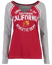 USC Trojans Women's Ellington Long-Sleeve Raglan T-Shirt - Cardinal Red/Gray