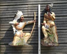 2 Indianer >1950er Firma Heissner 950 Frau + 951 Mann West Germany Figur Rarität