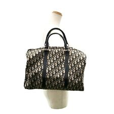 Christian Dior Trotter Boston Hand Bag Navy Canvas Leather Vintage Authentic