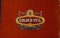 Golden Veil Quality Cigars Cigar Box Label Unused Embossed  Tobacco Cat CBL2