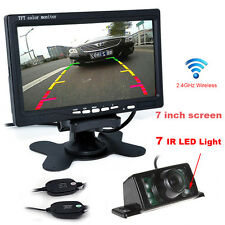 "7"" TFT LCD Monitor + Wireless Car Rear View System Night Vision Backup Camera HD"