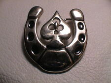 LUCKY HORSESHOE WITH ACE OF CLUBS CARD DESIGN CASINO CHROME METAL BELT BUCKLE