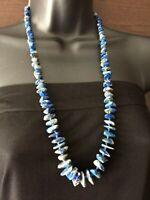 Blue Semiprecious stone Sodalite Necklace Boho Vintage