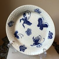 Heavy Hobbiest ~ Ceramic Butterfly Trinket Dish ~ Blue Butterflies w/ White