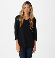 Isaac Mizrahi Live! Essentials 3/4-Sleeve Swing Knit Top - Black - 2X