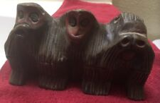 "Hand Carved Wise Monkeys Figure  3-1/2"" x 6"" See No Evil"