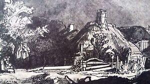 Rembrandt Heliogravure on Japon France 1800,s 8.5x11.75  sketch of farm house