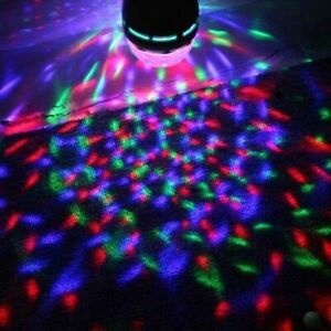 Full Color LED RGB Rotating Party Light Bulb with Wall Outlet Adapter Socket FUN