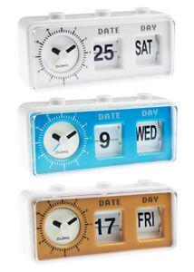 Retro Vintage Style Calendar Flip Alarm Clock - Day & Date Display - In 3 Colour
