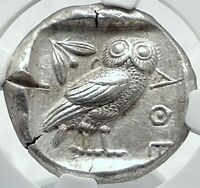 ATHENS Greece 455BC Ancient Silver Greek TETRADRACHM Coin Athena Owl NGC i77669