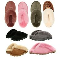 New UGG Women's Shoes Coquette Soft Cozy Slippers Sandals Black Chestnut Grey +