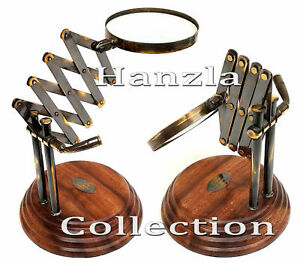 Weinlese Antike Stil Brass Desktop Magnifying Glass Messing Lupe auf Holzsockel